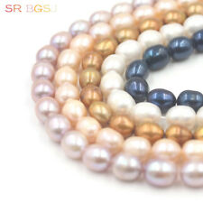 """Jewelry Making Natural Olivary Freshwater Cultured Pearl Beads Strand 15""""  8-9mm"""