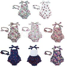 Infant Baby Girls Halter Romper Floral Jumpsuit Dress+Headband Outfit Clothes