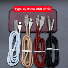 3D Zinc Alloy Type-C/Micro USB Data Sync Cable High Speed Charger For Cell Phone