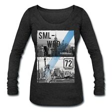 Smiley World New York Skyline Womens Tri-Blend Long Sleeve T-Shirt by