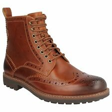 MENS CLARKS TAN LEATHER LACE UP BROGUE CASUAL SMART ANKLE BOOTS MONTACUTE LORD