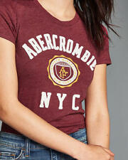 Abercrombie & Fitch Womens T-Shirt Logo Graphic Tee Shirt Top XS S or M Red NWT