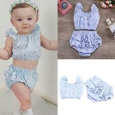 Newborn Baby Girls Infant Kids Summer Sleeveless Floral Top+Short Outfit Clothes