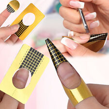 100Pcs Golden Nail Art Tips Extension Forms Guide Stickers French Acrylic UV Gel