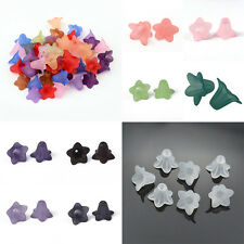 50pcs Frosted Transparent Acrylic Flower Beads Cute Bead Caps Findings 16x12mm