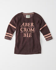 Abercrombie & Fitch Womens Sweater Logo Graphic Pullover Burgundy XS or M NWT