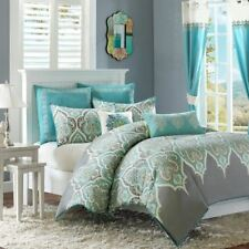 Twin XL Full Queen Cal King Bed Teal Blue Gray Paisley 7 pc Cotton Comforter Set