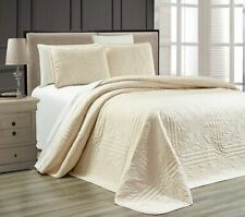 Twin XL Full Queen Cal King Bed Ivory Cream 3 pc Quilt Set Coverlet Bedspread