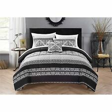 Comforter Soft Sheet Set King Queen Bedding Bed Bag Pillows Sham Black & White