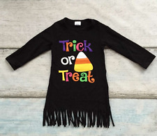 Girls Trick or Treat Fringe Dress Candy Corn Halloween Outfit 12M 2T 4T 6 7 8