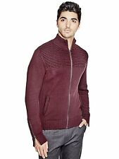 GUESS Mens Sweater Cardigan Mock Neck Jumper Thick with Zip Cuffs S Burgundy NWT