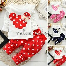 2PC Baby Girl Fancy Long Sleeves Minnie Bow T-Shirt Top+Pants Outfit Clothes Set