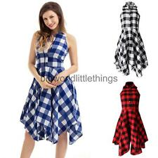 Ladies Womens Front Button Plaid Check Party Casual Shirt Dress with Pockets