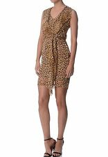 AUSTRALIAN DESIGNER WOMEN SUMMER LEOPARD PRINT SILK DRESS SIZE 6,8,10,12,14