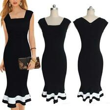 Womens Vintage Scoop Neck Office Work Business Party Bodycon Pencil Dress