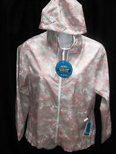 NWT COLUMBIA WOMEN'S MORNING VIEW WINDBREAKER JACKET PINK WHITE GRAY LARGE SMALL