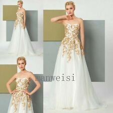 New Champagne Evening Dress Applique Lace Sweetheart Sleeveless Party Prom Gowns