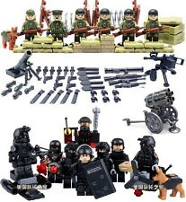 4 to 12 pcs Military WWII Army SWAT Team Police Cops Robbers Minifigures Weapons