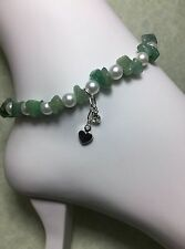 Handmade Healing Aventurine Stone Anklet/Ankle Bracelet W/Glass Pearls USA