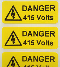 Electrical Safety Warning Labels - 415V Voltage Labels - Yellow 50mm x 20mm