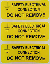 Electrical Safety Warning Labels - EARTH CONNECTION Yellow 50mm x 20mm