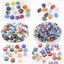 20/50Pcs Millefiori Glass Craft Mixed Shape Beads Multi-Color Loose Spacer Bead