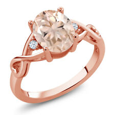 1.69 Ct Oval Peach Morganite 18K Rose Gold Plated Silver Ring