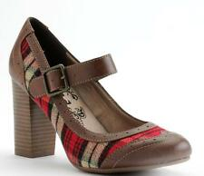 New Women's Junior Sizes 6 7 9.5 10 Mudd Plaid Mary Janes Pumps Shoes