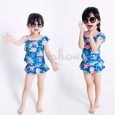 2 PCS Kids Girls Blue Floral Print Bathing Tankini Swimsuit Swimwear Beachwear