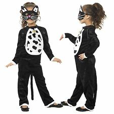Girls Kids Cat Kitty Pussycat Fancy Dress Costume Black Bodysuit Bell with Mask