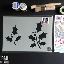Holly stencil Christmas card craft art window snow decorating paint Stencils