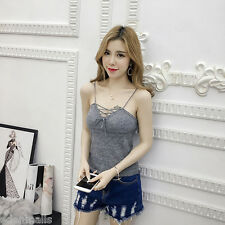 Korean Casual Bottoming shirt Sexy all-match Bandage Knitted Tank Top