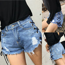 Summer women's Ladies High Waisted Casual Lace-up Danim Jeans hot pants shorts