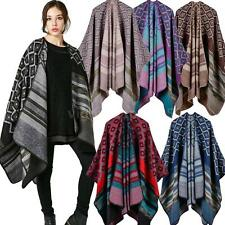 Women Poncho Winter Blanket Knit Wrap Shawl Scarf Cardigan Cape Poncho Coat N4U6