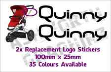 2x Quinny Buzz or Zapp Pushchair Replacement Logo Stickers 35 Colours