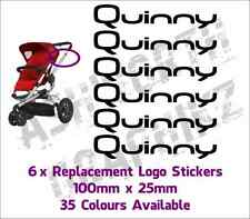 6x Quinny Buzz or Zapp Pushchair Replacement Logo Stickers 35 Colours
