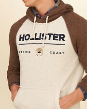Abercrombie & Fitch - Hollister Hoodie Mens Graphic Fleece S L or XL Cream NWT