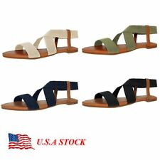 Women Gladiator Sandals Shoes Thong T Strap Flat Size Strappy Flip Flops Toe New