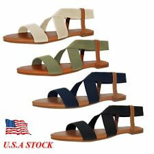 Women's Gladiator Flat Thong Sandals Elastic Flip Flops Strap Summer Shoes Toe