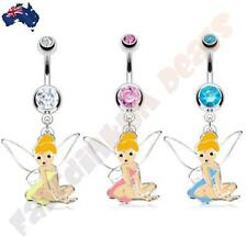 316L Surgical Steel Jewelled Belly Ring with Enamel Fairy Dangle