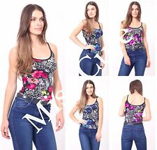 WOMENS LADIES CASUAL SLEEVELESS CONTRAST FLORAL LEOPARD PRINT CAMI VEST TOP 8-16