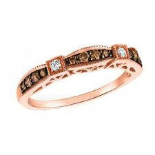 Chocolate CZ  Bridal Wedding Ring Band Rose Gold over 925 Sterling Silver