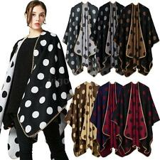 Women Poncho Blanket Knitted Dot Wrap Shawl Scarf Cardigan Cape Poncho Coat L6Z0