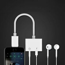 White 2 in 1 Cable to 3.5mm Headphone Jack Audio Adapter For iPhone 7/7 Plus