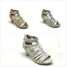 New Kids Girls Rhinestones Party Caged Dress Heel Sandals Size 9-4