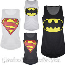 New Womens Sleeveless Round Neck Muscle Racer Back Superman Batman T Shirt Vest