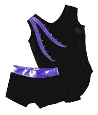 PURPLE & BLACK LEOTARD & SHORTS SET - GIRLS SIZES 2 to 16 - GYMNASTICS DANCE GYM