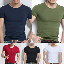 Mens Slim Fit Cotton Tops T-Shirt Short Sleeve Casual O/V-Neck Style Tee M-XXXL