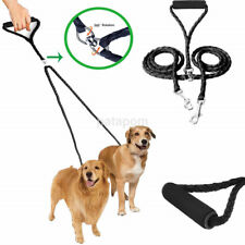 Twin Lead Duplex Double Dog Coupler 2 Way Two Pet Dogs Walking Leash Safety US