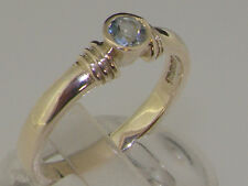 925 Sterling Silver Natural Aquamarine Womens Solitaire Ring - Sizes 4 to 12